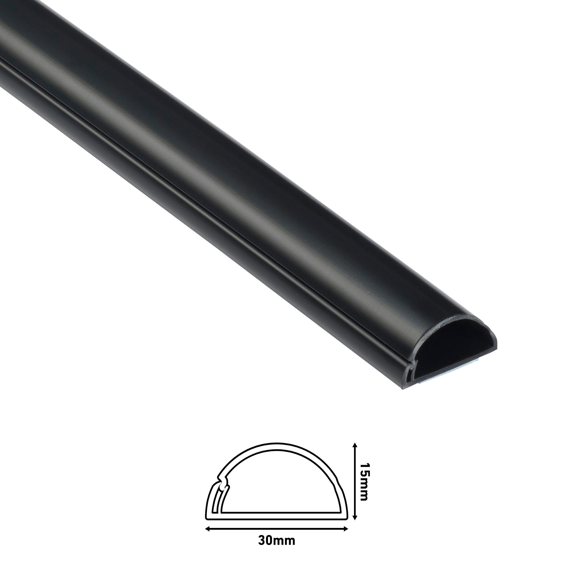 Goulotte 1/2 cercle D-Line® - 30x15mm - 2 m Noir
