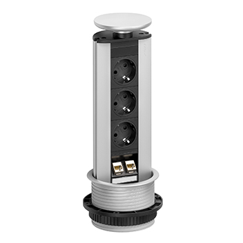 Evoline® Port 3 prises de courant, 2 RJ45 CAT6 - Look CD   LED