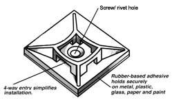 Schéma de l'attache-câble à base adhésive.
