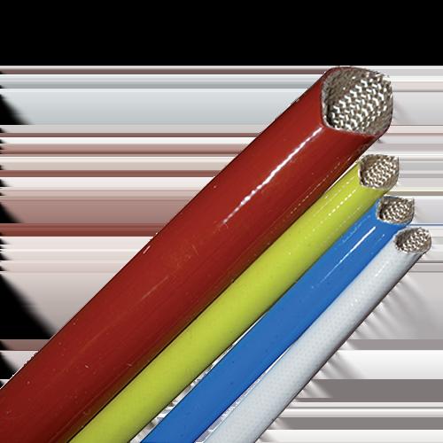 Gaine tressée en fibre de verre enduite d\'un caoutchouc de silicone - Rigidité Diélectrique 1.5kV